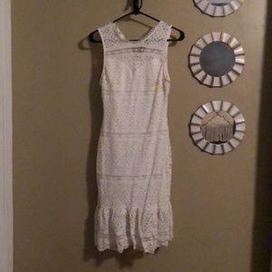 Lace white bridal shower dress